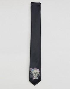 Галстук с принтом черепов Noose & Monkey - Серый