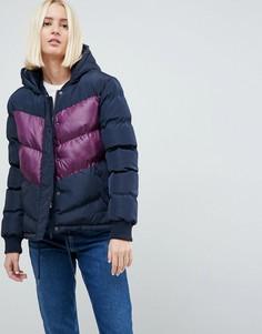 Дутое пальто в стиле колор блок Brave Soul Marsell - Темно-синий