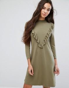 Платье с высоким воротом и оборками b.Young - Зеленый