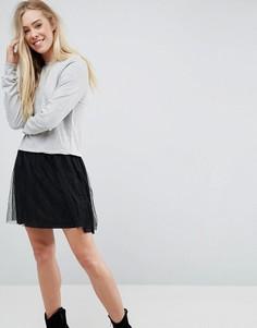 Платье-футболка 2-в-1 Brave Soul Leona - Серый