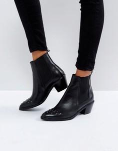 Кожаные ботинки с заклепками на носке H by Hudson - Черный