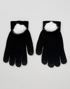 Перчатки из искусственного меха для сенсорного экрана 7X - Черный
