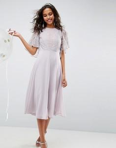 Платье миди с кружевной аппликацией ASOS WEDDING - Мульти