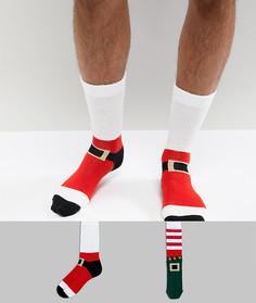 2 пары носков с Санта-Клаусами и эльфами ASOS - Мульти