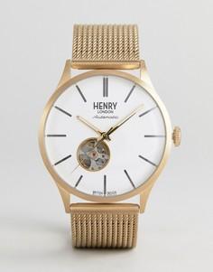 Золотистые часы с сетчатым ремешком Henry London Automatic - Золотой