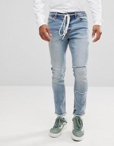 Выбеленные джинсы скинни с заплаткой и поясом-шнурком ASOS - Синий