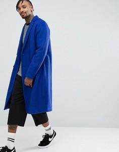 Синее фактурное двубортное пальто с заниженной линией плеч ASOS - Синий