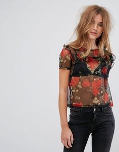 Сетчатая футболка с цветочным принтом Pimkie - Черный