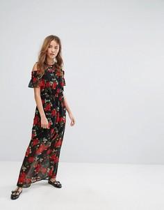 Платье макси с цветочным принтом и открытыми плечами Pimkie - Черный