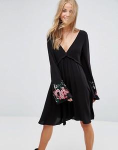 Свободное платье с вышивкой драконов Pimkie - Черный