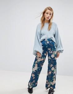 Широкие брюки с цветочным принтом Pimkie - Синий