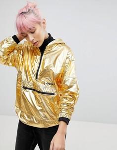 Блестящая золотистая куртка на молнии с капюшоном adidas Originals - Золотой