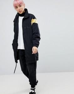Черная длинная спортивная куртка с золотистой вставкой adidas Originals - Черный