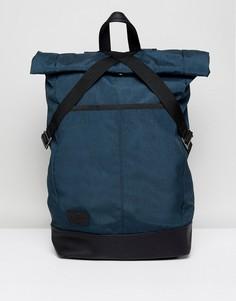 Синий рюкзак ролл-топ с основанием из искусственной кожи ASOS - Синий