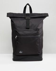 Черный рюкзак ролл-топ с основанием из искусственной кожи ASOS - Черный