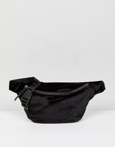 Черная бархатная сумка-кошелек на пояс ASOS - Черный
