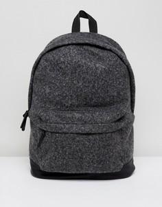 Темно-серый рюкзак из плотного сукна с основанием из искусственной кожи ASOS - Серый