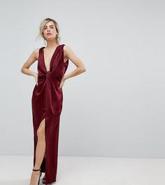 Атласное платье макси с драпировкой ASOS PETITE - Красный