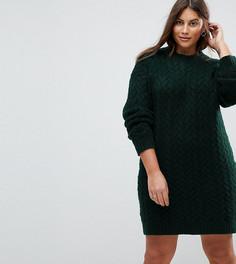 Вязаное платье оверсайз с узором косичка ASOS CURVE - Зеленый
