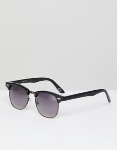 Черные солнцезащитные очки в стиле ретро в металлической оправе шоколадного цвета ASOS - Черный