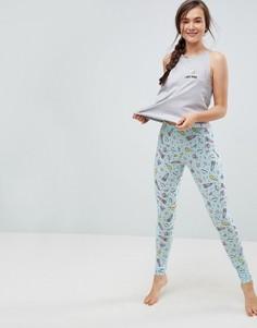 Пижамный комплект с вышивкой I Need Space ASOS - Мульти