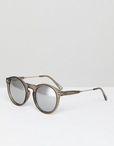 Прозрачно-серые круглые солнцезащитные очки с зеркальными стеклами ASOS - Серый