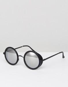 Черные матовые круглые солнцезащитные очки с зеркальными стеклами ASOS - Черный