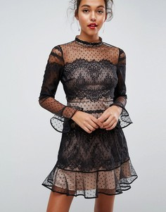 Кружевное платье мини с длинными рукавами ASOS - Черный