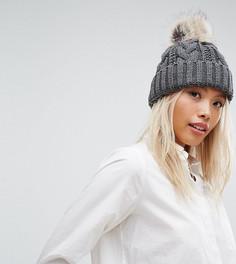 Серая шапка-бини крупной вязки с помпоном Stitch & Pieces - Серый