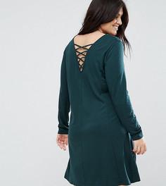 Трикотажное платье с длинными рукавами и отделкой на спине Junarose - Зеленый