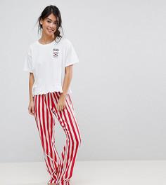 Пижамные штаны с вышивкой и футболка с надписью Espresso Yourself ASOS PETITE - Мульти