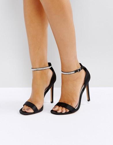 Босоножки на каблуке с отделкой камнями ASOS HIGHLIGHTER - Черный