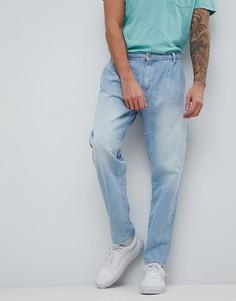 Голубые джинсы с двумя складками ASOS - Синий
