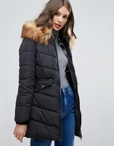 Удлиненная стеганая куртка с искусственным мехом Only Sanna - Черный