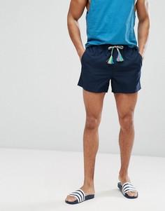Темно-синие короткие шорты для плавания с разноцветным шнурком ASOS - Темно-синий