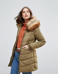 Длинное стеганое пальто с меховой отделкой Only Sanna - Зеленый