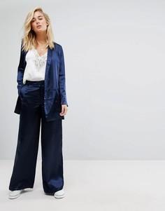 Комбинируемые широкие атласные брюки Moss Copenhagen - Темно-синий