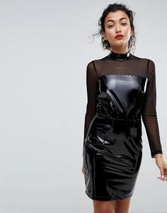 Блестящее платье мини с высоким воротом Club L - Черный