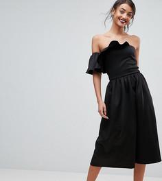 Короткое приталенное платье-бандо с оборками True Violet Tall - Черный