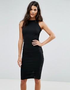 Платье-футляр с кружевной вставкой AX Paris - Черный