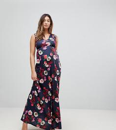 Платье макси с глубоким декольте и вырезами Bluebelle Maternity - Мульти