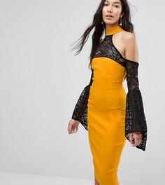 Платье с открытыми плечами и кружевными рукавами клеш Vesper Tall - Желтый