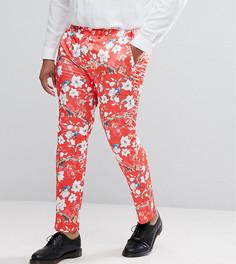 Красные супероблегающие брюки с принтом ASOS PLUS - Красный