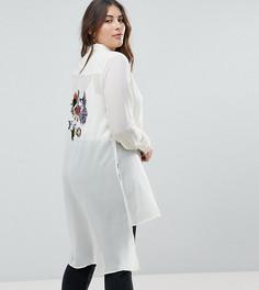Длинная рубашка с вышивкой птицы Koko - Кремовый