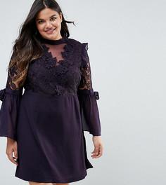 Платье мини с кружевом и бантами на рукавах Truly You Premium - Фиолетовый