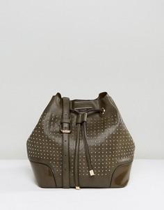 Габаритная сумка через плечо цвета хаки с заклепками Dune Stacey - Зеленый
