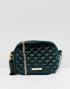 Стеганая бархатная сумка через плечо Dune Sophie - Зеленый