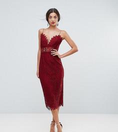 Кружевное платье-футляр миди на бретельках ASOS TALL - Красный