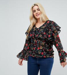 Блузка на пуговицах с цветочным принтом и оборками Influence Plus - Мульти