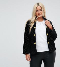 Стеганая бархатная куртка с отделкой в стиле милитари Fashion Union Plus - Черный